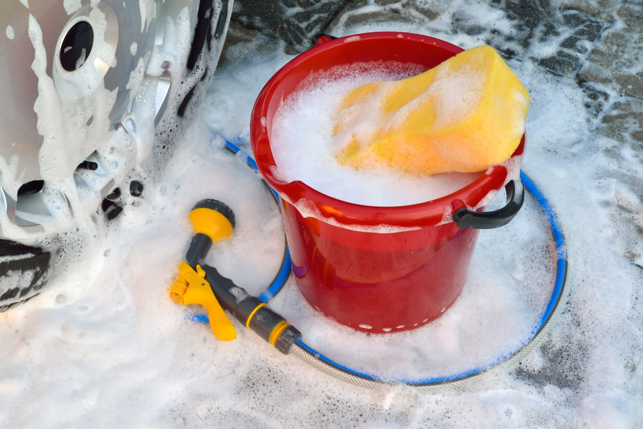 bucket of soapy water rv cleaning