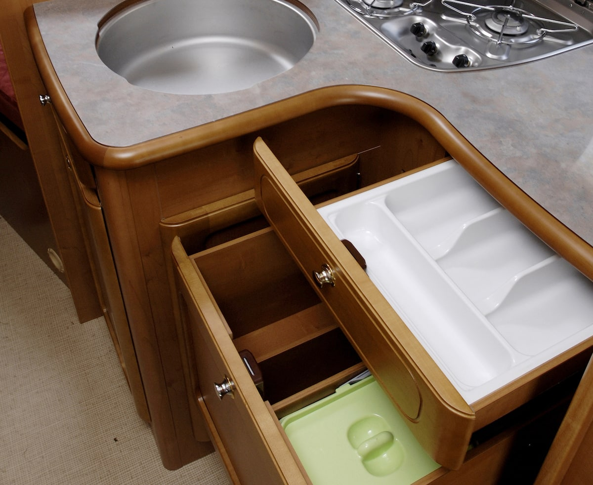 storage and drawers in an RV