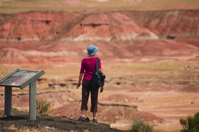 woman hiking off-trail