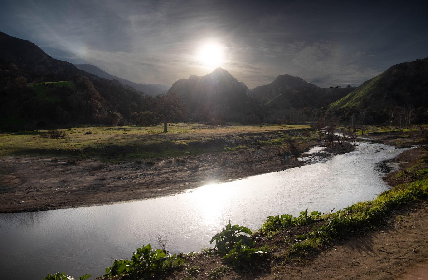 Malibu Creek State Park stream and mountain range