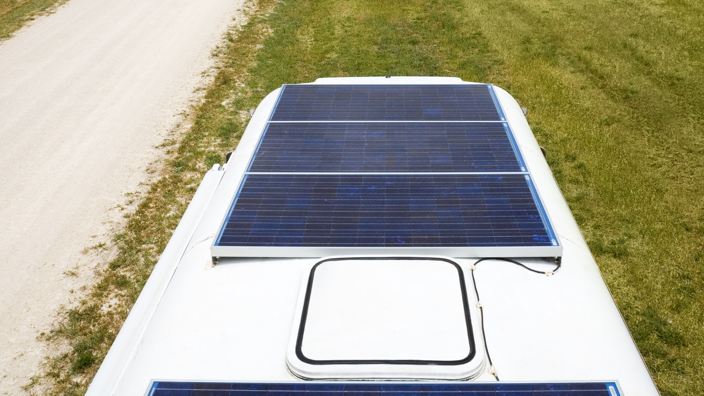 RV roof sola panels and vents