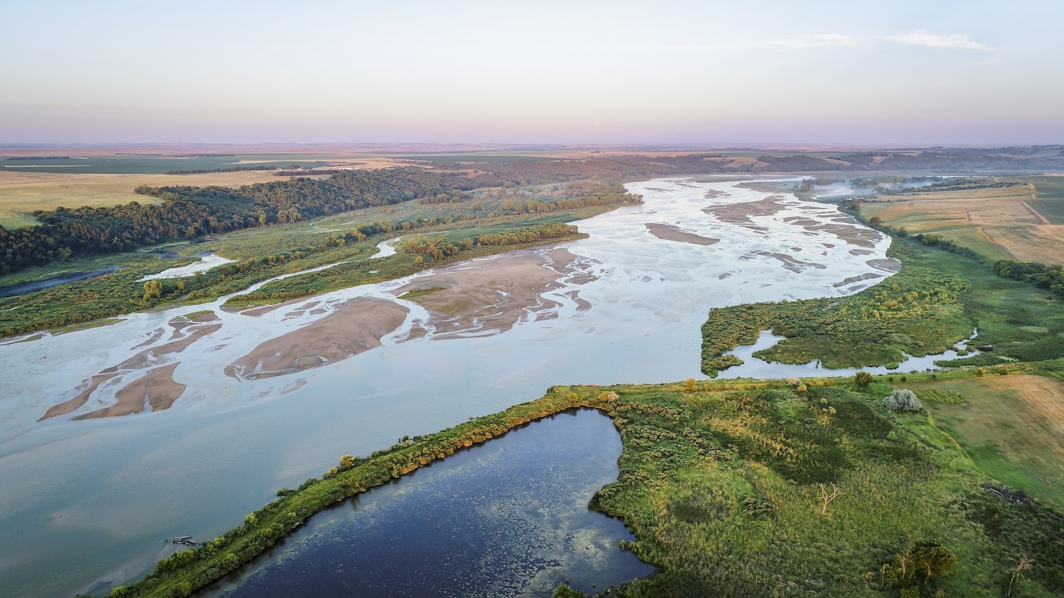 aerial photography view of lower Niobrara RIver in Nebraska Sandhills
