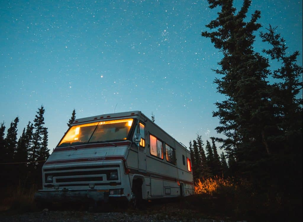 motorhome boondocking with the lights on