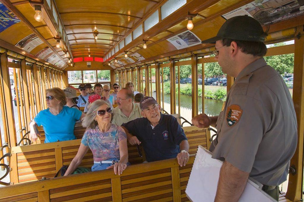 Park Ranger on Lowell National Historical Park Trolley Car
