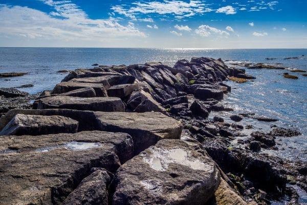 Rocky beach of Brenton Point State Park in Rhode Island