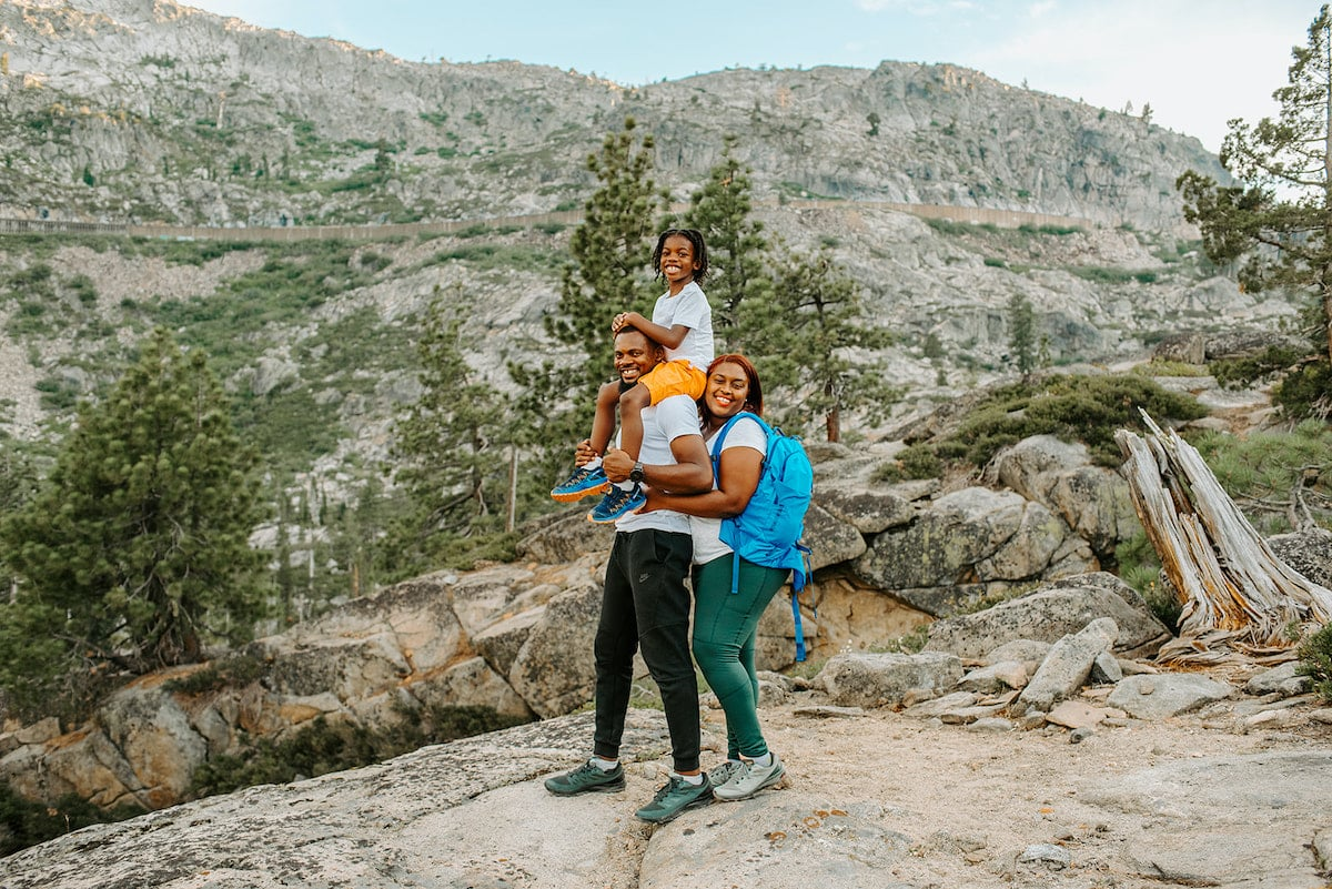 A family hiking