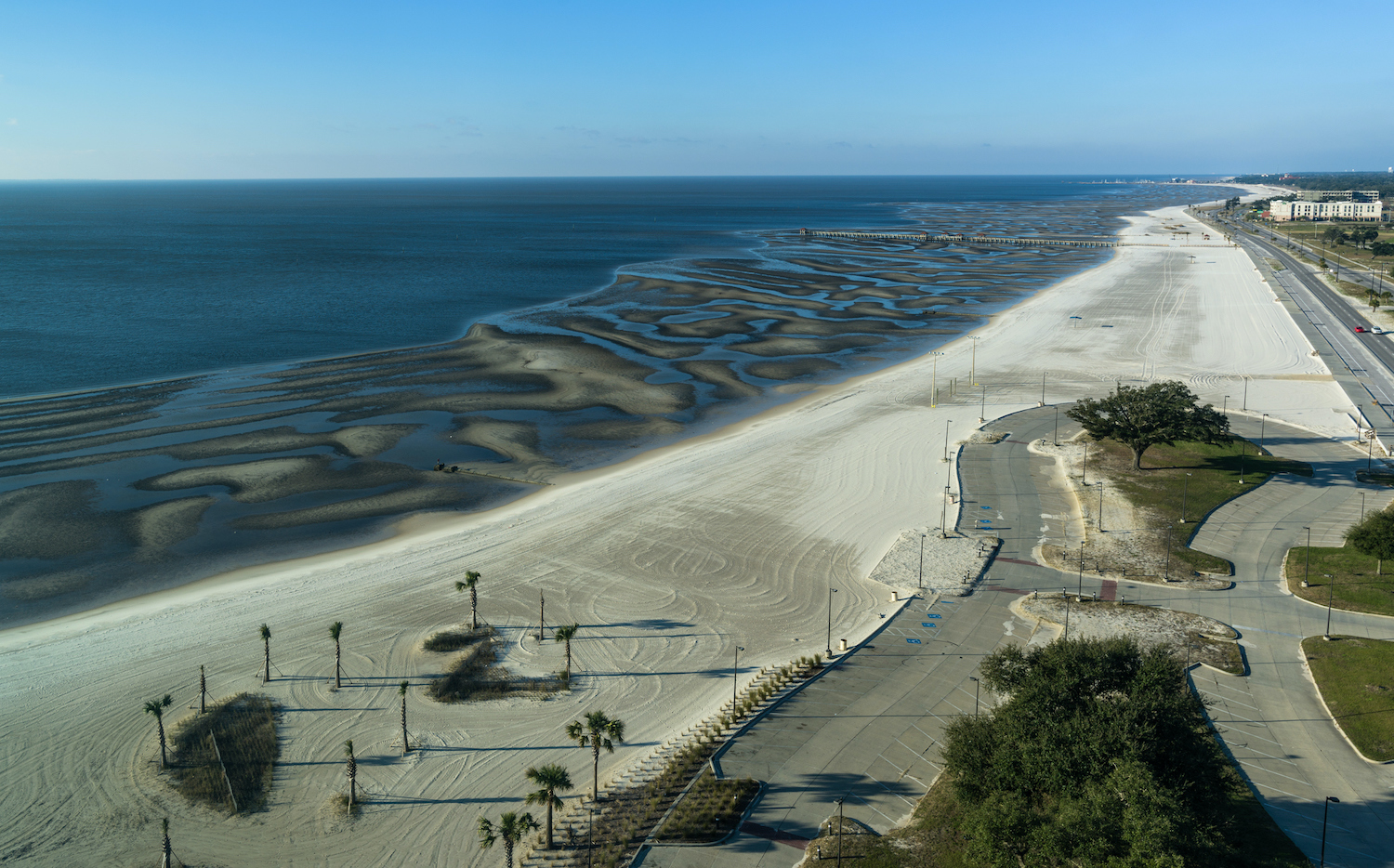 A sand beach in the Gulf of Mexico, in Gulfport, Mississippi - USA