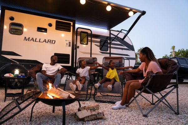 RV camping with a campfire