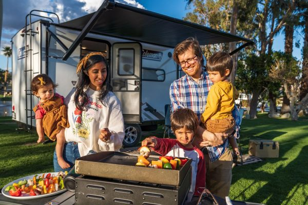 Big family cooking at campground