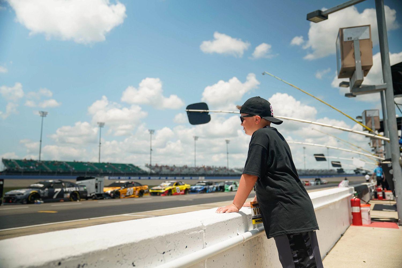 Mikey Palmer watching NASCAR race.