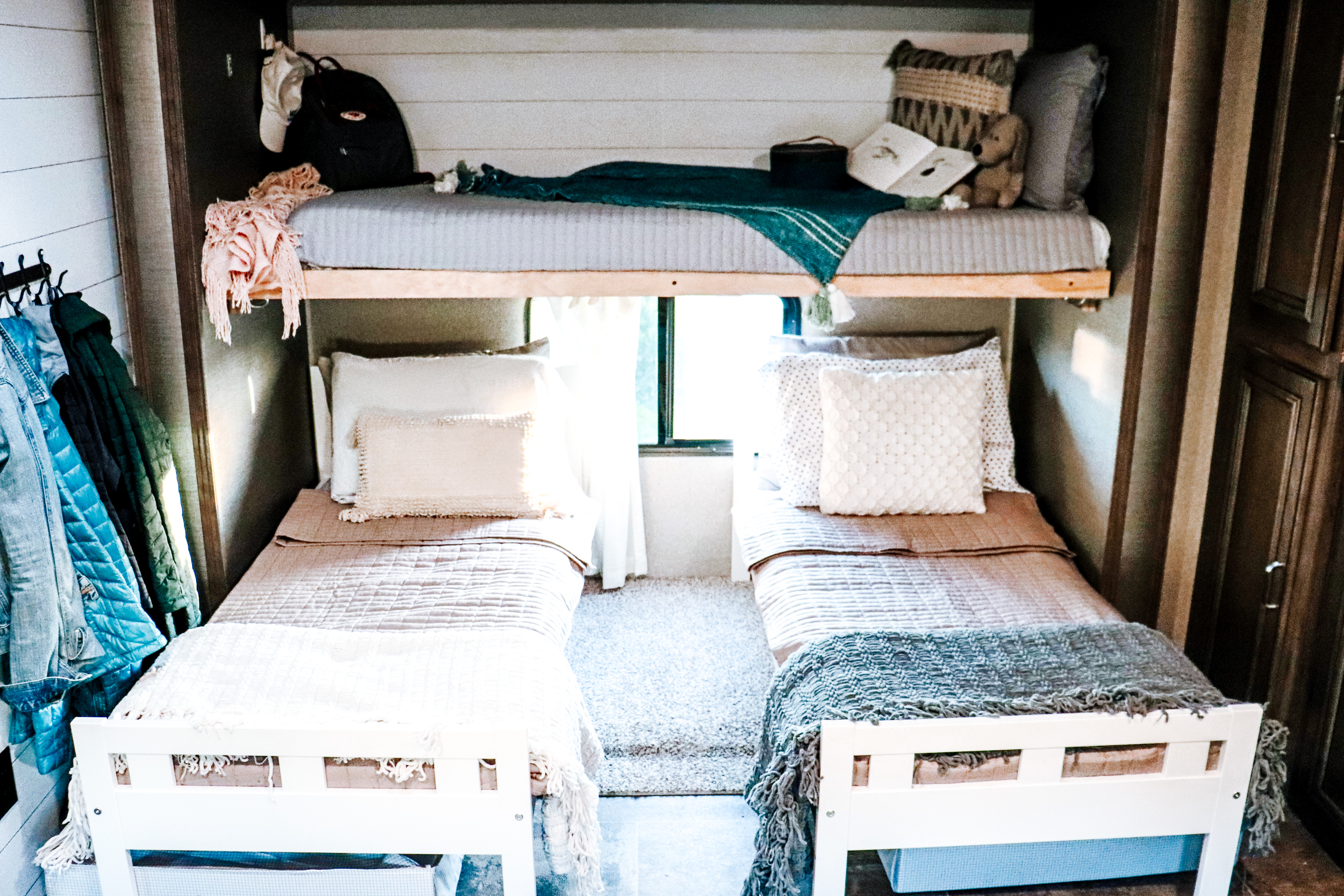 RV bunk bed conversion twin beds