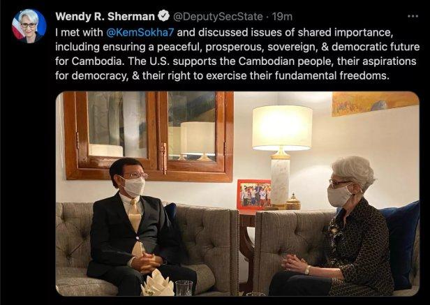 US State Department Wendy Sherman met Kem Sokha of CNRP on 01 June 2021
