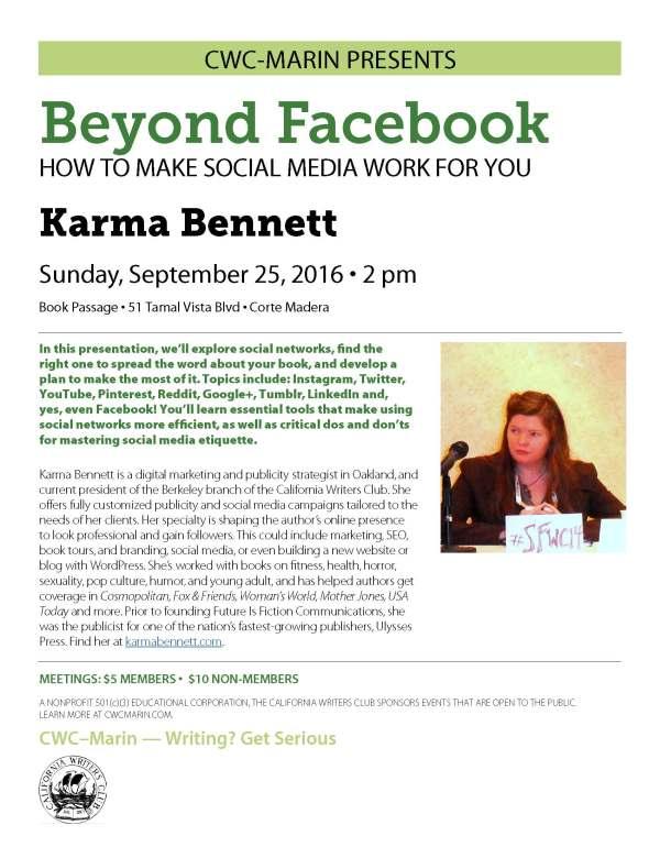 September 25: Karma Bennett on How to Make Social Media Work