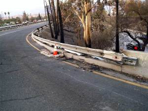 Guardrail Fire Damage