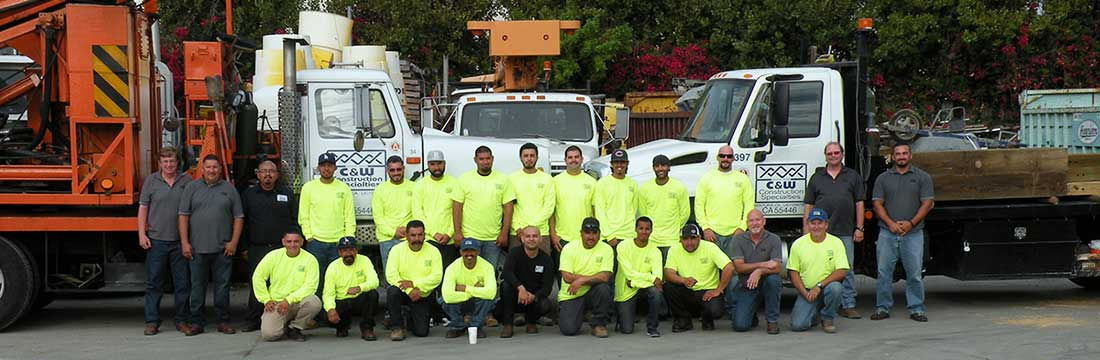 C&W Guardrail Installation Team