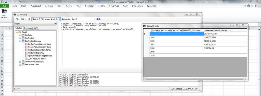 Introduction to MDX for PowerPivot Users, Part 5: MDX Queries