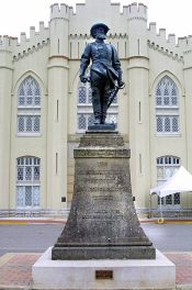The statue of Jackson. Little Sorrel's grave is near the foot of this statue at VMI