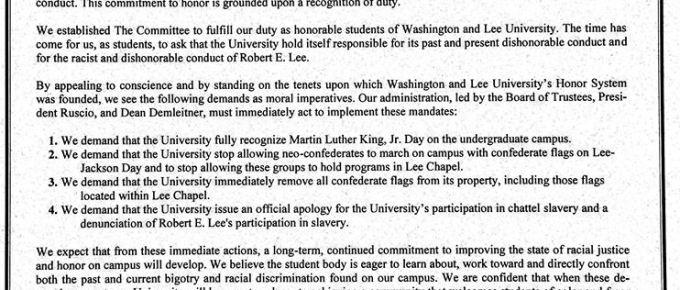 No Confederate Flags in Washington & Lee University's Chapel