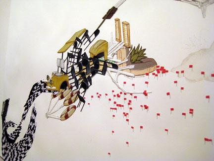 Detail of a work on paper by Weston Teruya