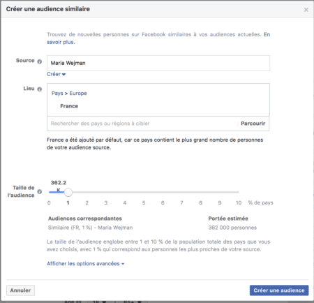 similar Facebook audience