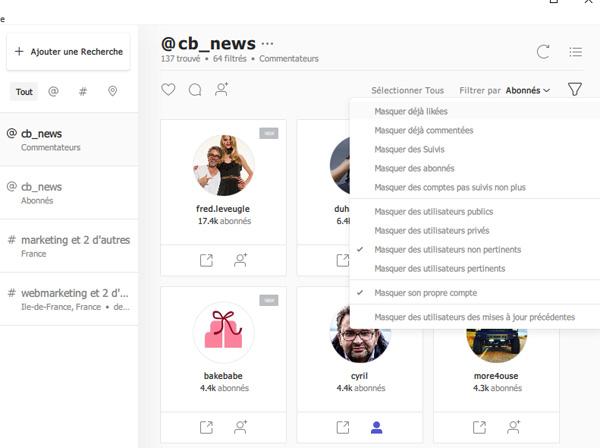 Instagram Marketing Tool Filter Users