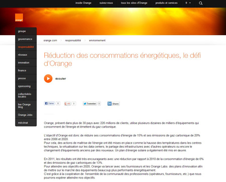 Orange corporate website