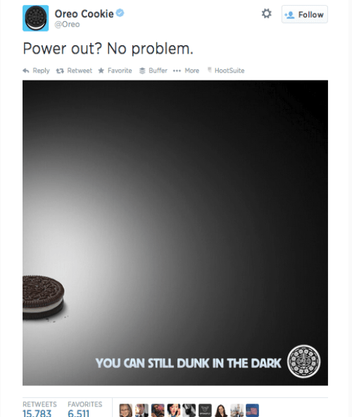 Oreo's rapid response to a Superbowl power failure