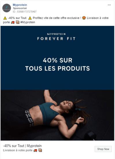 Myprotein: Facebook ads e-commerce