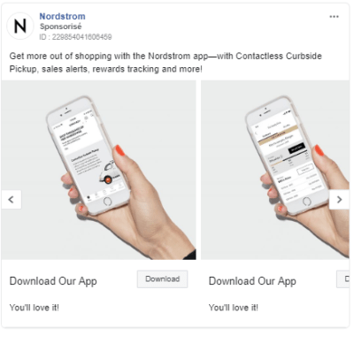 Nordstrom: Get downloads for your e-commerce application using Facebook Ads