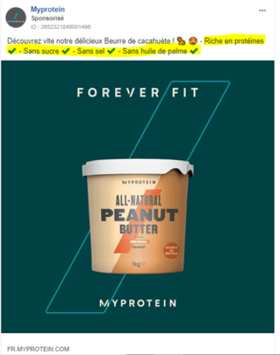 MyProtein: Facebook Ads e-commerce remove objections and barriers to purchase
