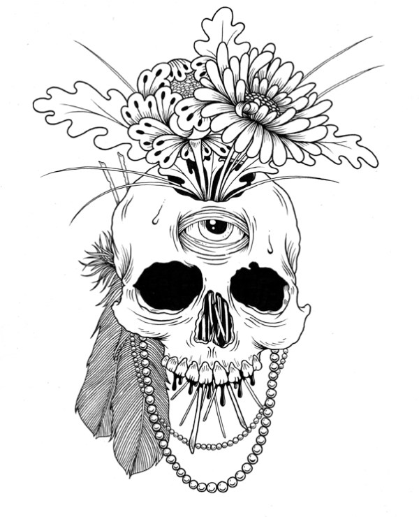 Flowers And Skull Drawing