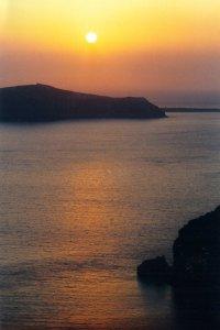 Coucher de soleil sur Thira à Santorin