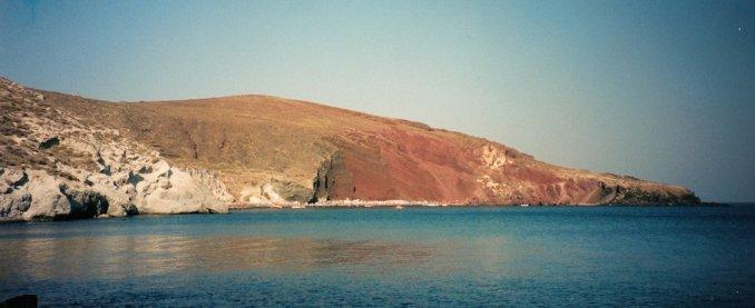 Santorin : la Red Beach près d'Akrotiri