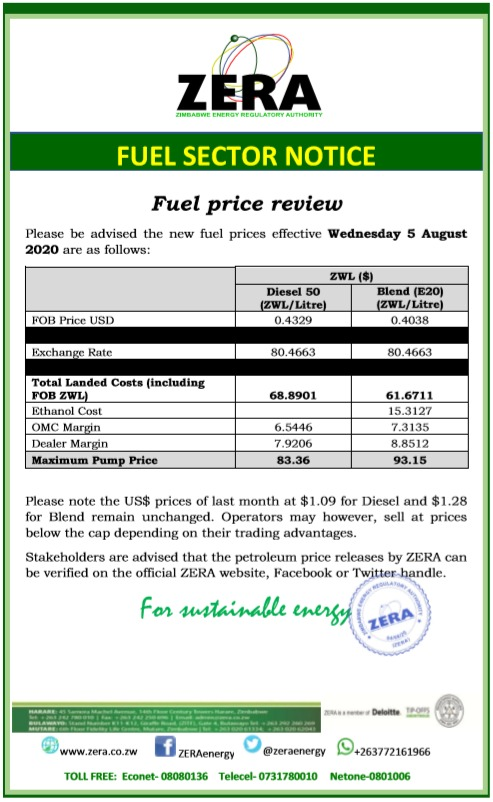 New Fuel Prices In Zimbabwe Effective 05 August 2020