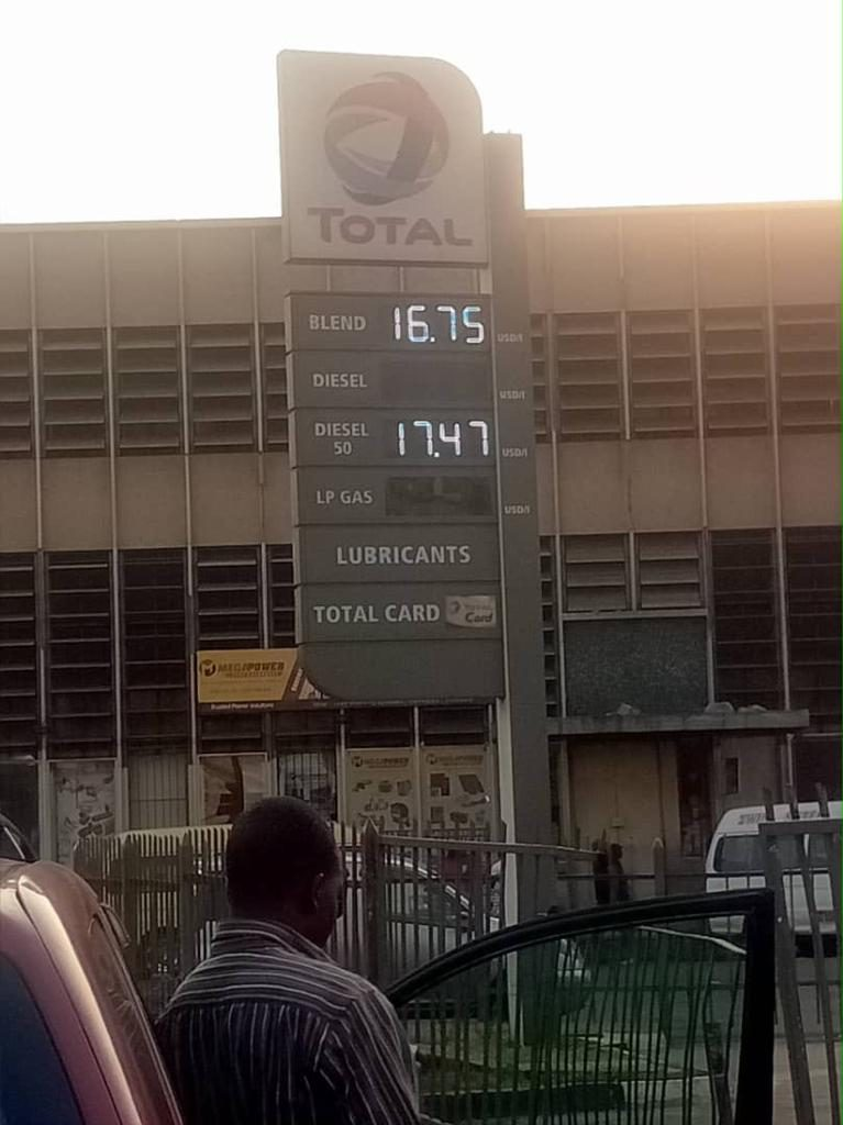 Service Station showing fuel price increase