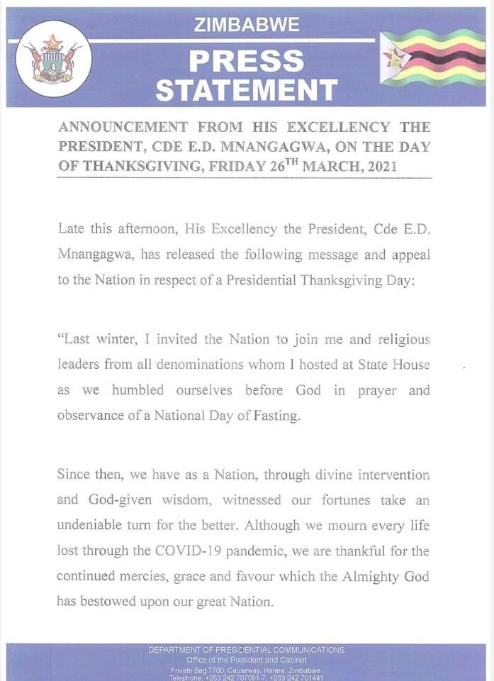 "Zimbabwe Declares Friday ""President's Special National day of Thanksgiving"""