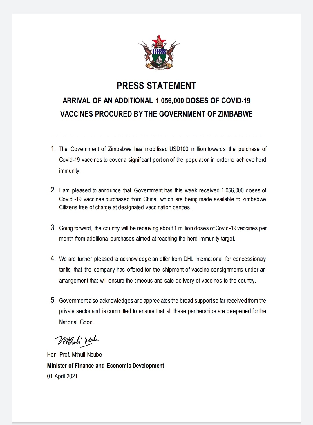 Zimbabwe To Receive 1 Million Covid-19 Vaccines Every Month