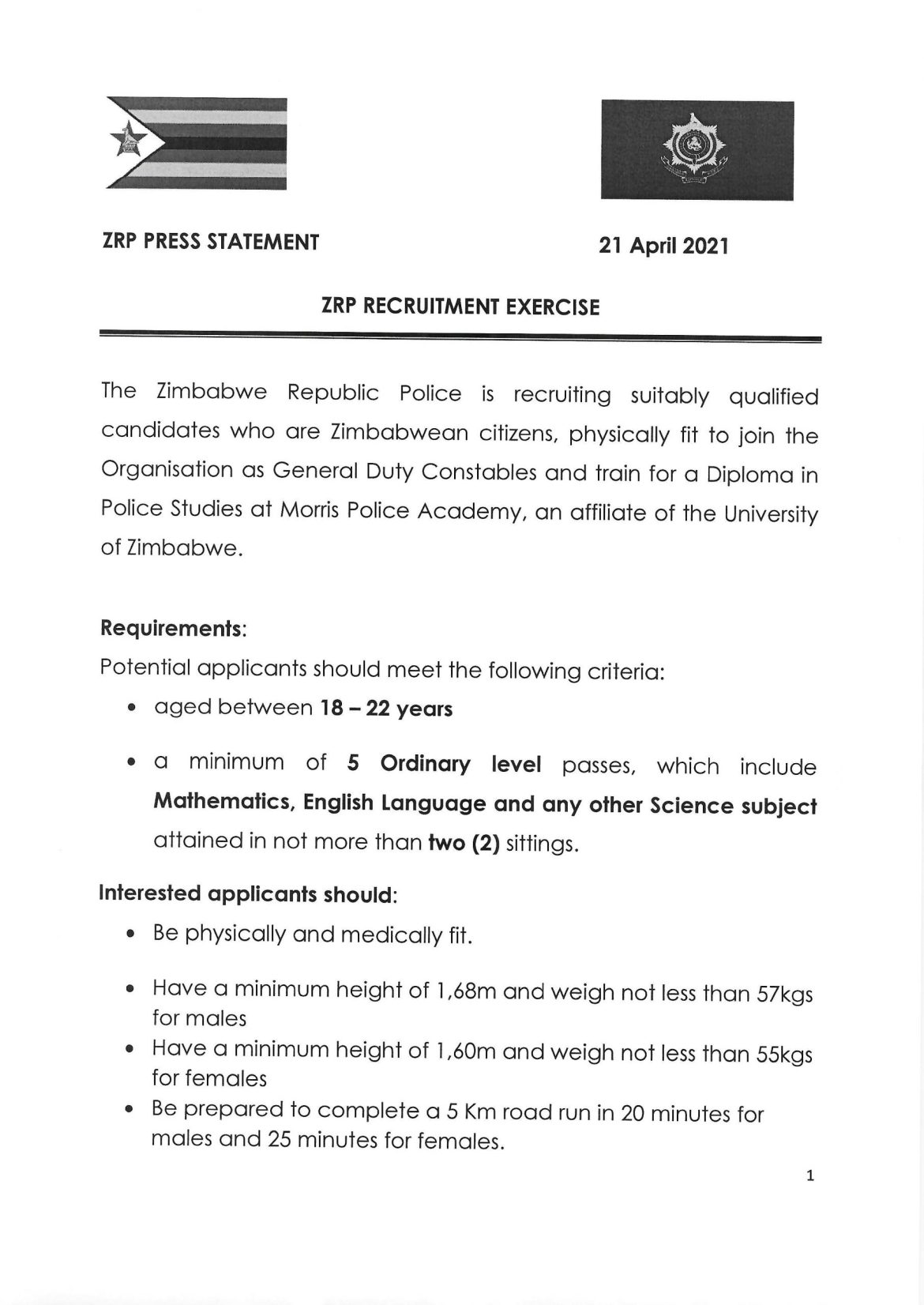 ZRP Recruitment 2021: Here Is How To Apply For Police Vacancies