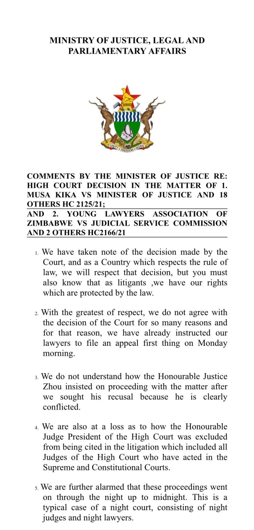Government Vows To Challenge High Court Ruling On Chief Justice Luke Malaba