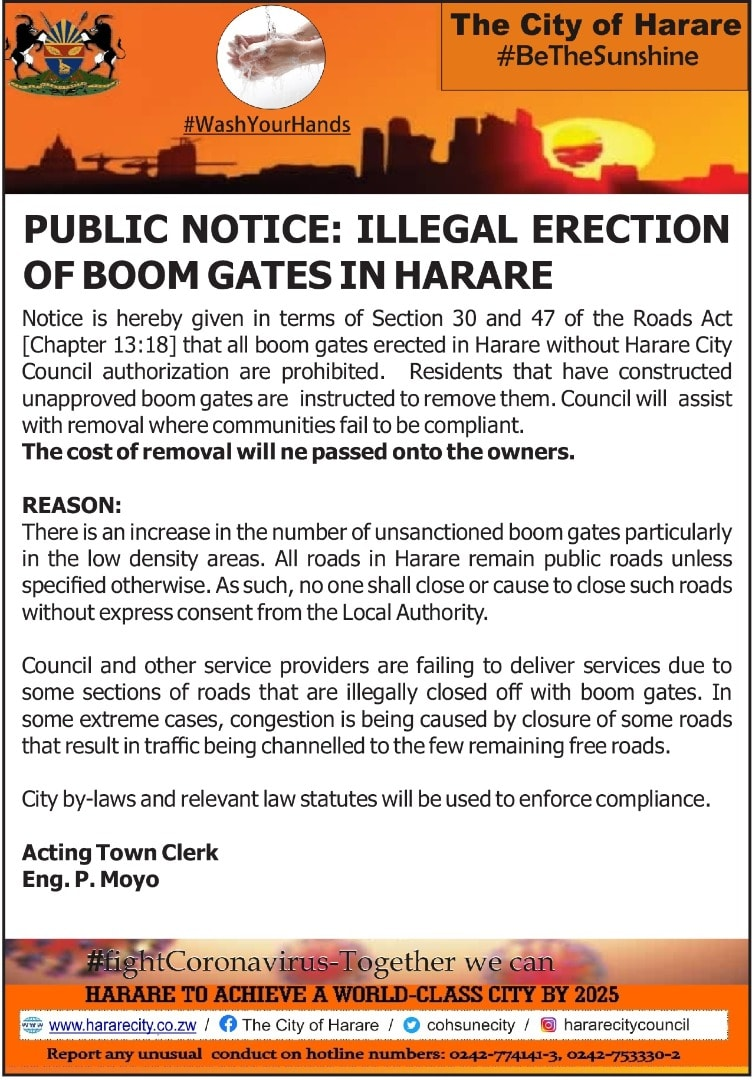 Boom Gates To Blame For Poor Service Delivery: City Of Harare Orders Removal