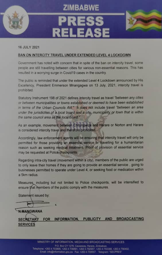 Travel Between Harare-Chitungwiza & Harare-Norton BANNED: Govt