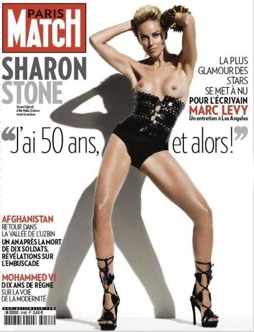 sharon stone in paris match-cover