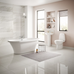 Image by Cyan Studios - Better Bathrooms - Light Stylish Pink White Bathroom Suite