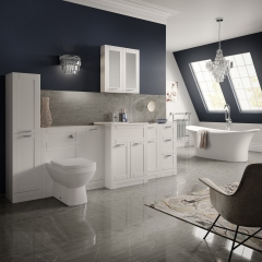 Image by Cyan Studios - Better Bathrooms - Modern Grey Navy Bathroom