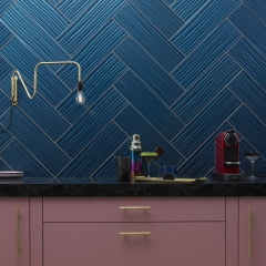Image by Cyan Studios - British Ceramic Tile - Pink Blue Metallic Statement Kitchen