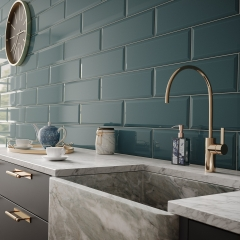 Image by Cyan Studios - British Ceramic Tile - V&A Grey Marble Blue Metro Kitchen