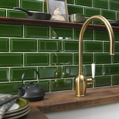 Image by Cyan Studios - Tile Giant - Green Crackle Glaze Kitchen