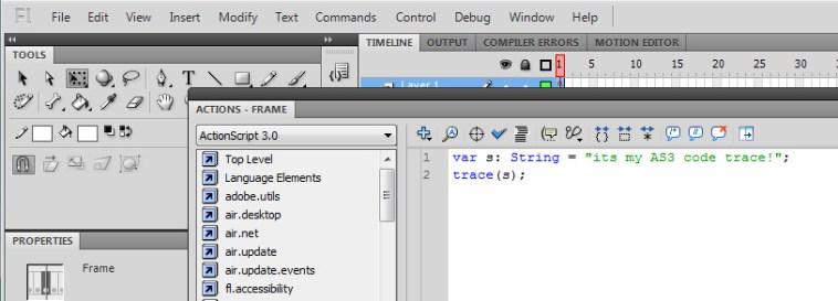 Пример кода actionscript, написанный в редакторе Flash IDE.