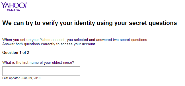 Yahoo-Canada's account retrieval through security question