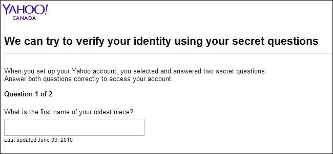 Yahoo-Canada's account retrieval through security question
